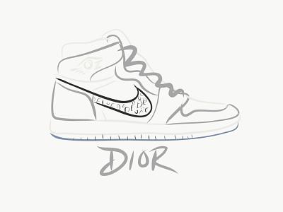 Air Jordan 1 Dior sneakers jordans handlettering hand drawn typogaphy orlando vectors logo design vector logo branding adobe sneakerhead jordan nike sneaker lineart ipad design illustration