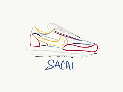 Nike LD Waffle Sacai branding logo orlando ipad logo design vectors lineart nike running design sneaker art sneakerhead sneakers illustration nike shoes nike