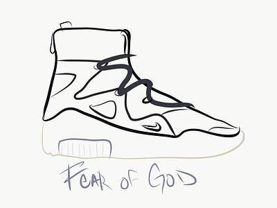 Nike Fear Of God hand lettering hand drawn sneaker adobe sneakerhead lineart design typography logo branding logotype orlando logo design vectors library vector illustration ipad sneakers nike