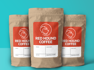 Redhound Coffee Label logo design florida food vector branding illustration logo typogaphy orlando espresso labeldesign design coffee shop label coffee