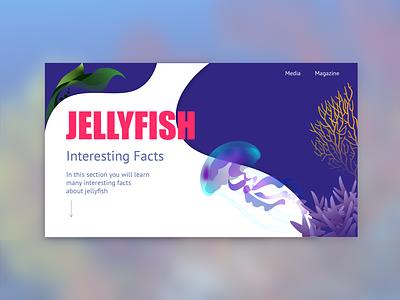 Jellyfish flat web vector illustration design ui