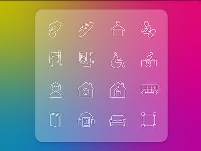 "Icons for WEB ""Мечтаю Жить"" minimal icon art web vector illustration ui design"