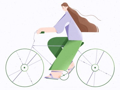 Portrait portrait green bike girl texture illustrator illustration