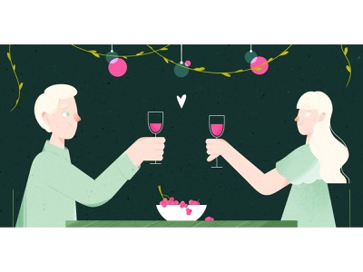 Romantic characterdesign valentine day lover green pink wine love plant texture illustrator illustration