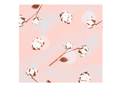 "Pattern ""Sweet cotton""💗 patterns pink cotton flower plant juicy texture illustrator illustration"