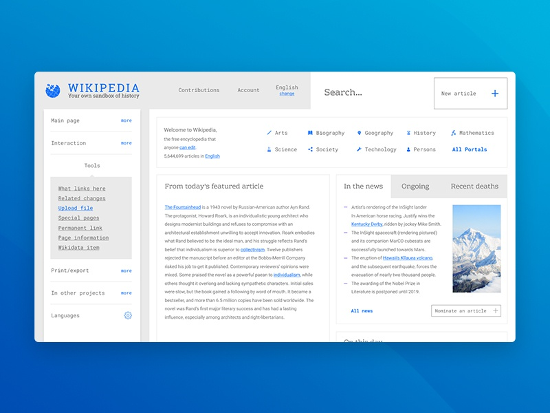 wiki page design concept  by Dmitry on Dribbble