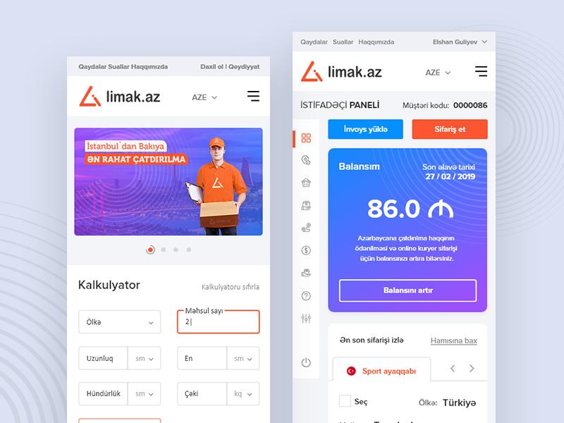 Limak.Az delivery company mobile web design design ui branding webdesign web ux design ui design web design