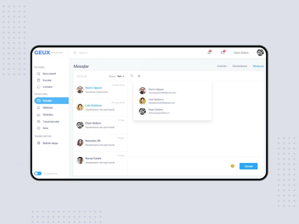 Dashboard message panel dashboard design dashboard ui dashboad ux design ui design web design