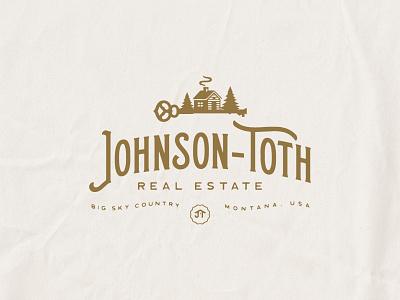 Johnson Toth Real Estate Logo montana log cabing vintage type real estate logo real estate
