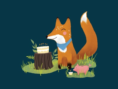 Fox and Pig have a birthday cute animals piggybank fox procreate illustration