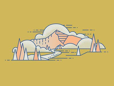 Mountain Scene illustration montana outdoors mountains mountain scene