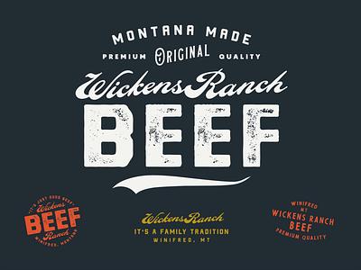 Wickens Beef badge branding logo typography ranch logo beef
