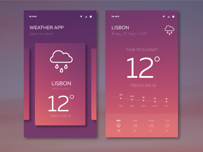 Weather App by Mariana Barros on Dribbble