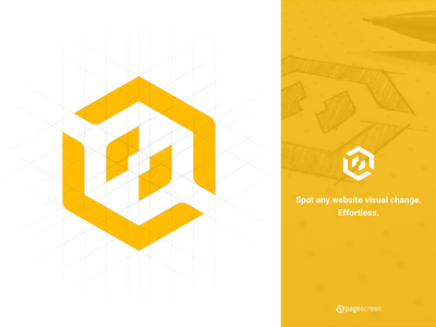Pagescreen – Logo concept geometry drawing making-of concept logo
