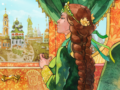 Frog princess russia fairytale digital art character design traditional art character watercolor illustration art