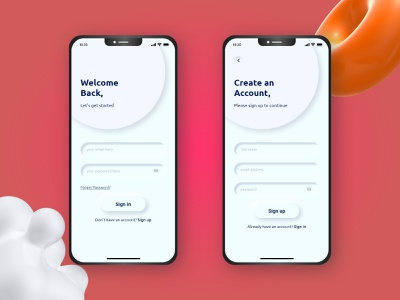 Sign in/Sign up Page UI template onboarding screen neomorphism mobile app ui login page login screen sign up sign in