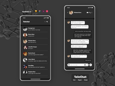 Telechat | Messaging App UI typography mobile ui mobile app design message messaging app dark mode inbox chat app chatbox