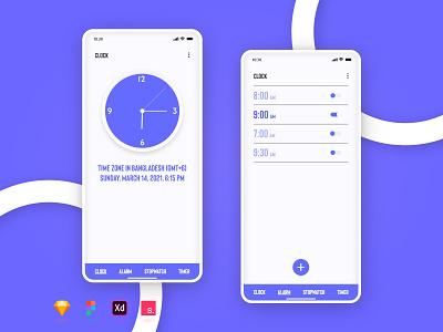 Alarm Clock App Design android app google clock alarm clock alarm mobile app design ui design clock ui time app time clock app clock