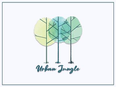 Urban Jungle   Watercolor Logo typography feminine logo logo design brand design urban jungle forrest watercolor logo