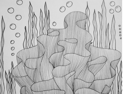 A coral sea black and white illustration lines zentangle