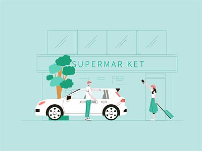 Greet passengers 出租车 在线打车 迎接乘客 矢量 小场景 组合插图 flat graphic design ui art illustrator design illustration