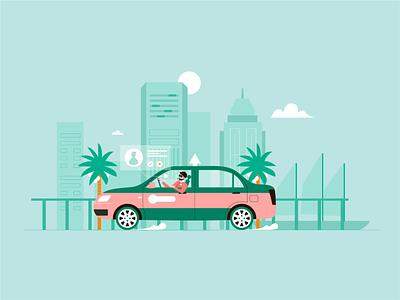 Taxi driver 司机 flat ui 小场景 art 在线打车 illustrator design illustration graphic design
