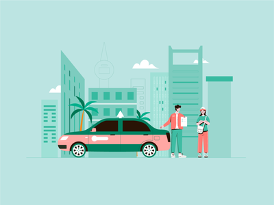 Taxi driver and passenger art 司机 小场景 在线打车 flat design ui illustrator graphic design illustration