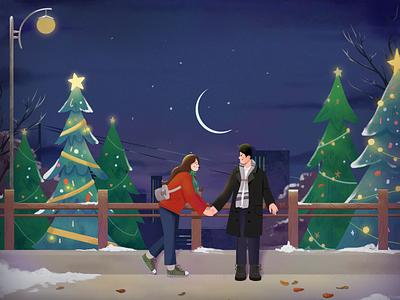 Fall in love at christmas lovers in love christmas design graphic design art illustrator illustration