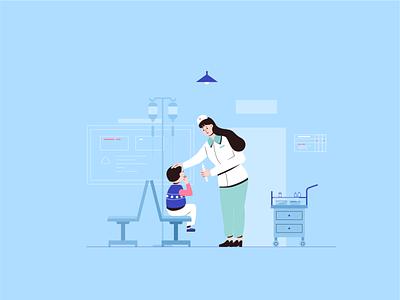 Nurses and children hospital art vector 小场景 ui illustrator design flat graphic design illustration