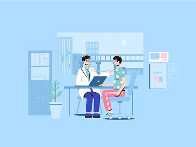 See a doctor art design flat vector hospital 小场景 ui illustrator graphic design illustration