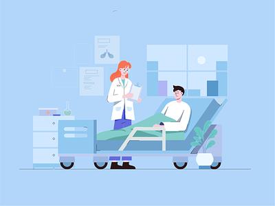 Nurse and patient vector hospital art 小场景 illustrator ui design graphic design illustration