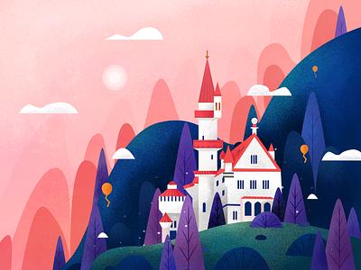 Tower scene tower design graphic design 小场景 ui flat illustrator illustration