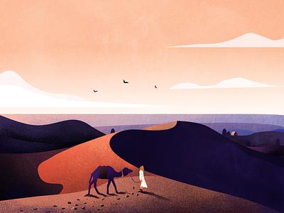 Finding a way home in the desert scenery gradual change desert texture illustrator design illustration