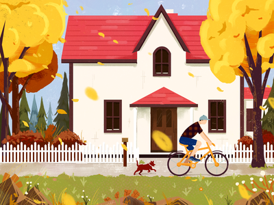Cycling to an outing texture autumn collection autumn leaves textures houses autumn textured design illustrator 小场景 illustration