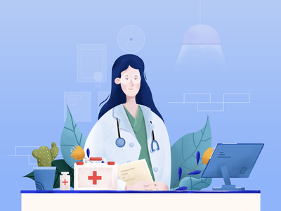 Great doctor art illustrator design graphic design hospital 小场景 ui flat illustration