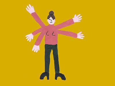 Multi-tasking painting freelance sos arms illustration