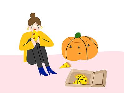 Pumpkin Friend illustration october fall jackolantern friend halloween pumpkin pizza
