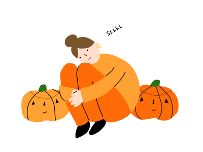 Not Here autumn fall october london illustrator halloween illustration out of office do not disturb pumpkin