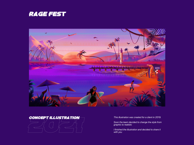 Rage Fest Illustration character noise logo branding ui ux typeface sunsetillustration sunset typography illustration