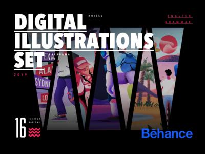 Digital illustrations set