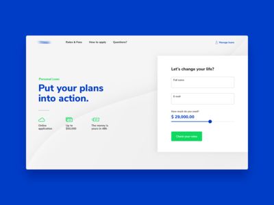 Personal Loan - Landing page concept