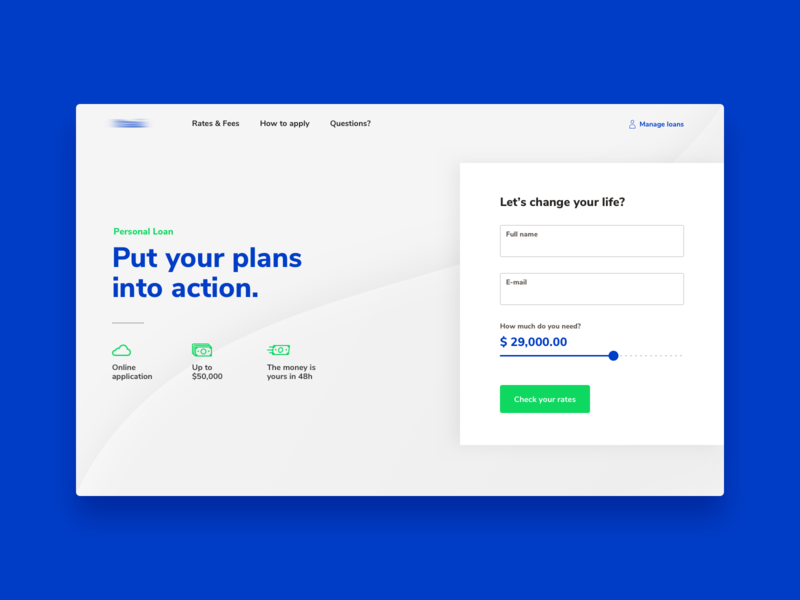 Personal Loan - Landing page concept form loan web design design ui interface