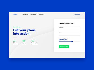 Personal Loan - Landing page concept form loan web design design ui interface