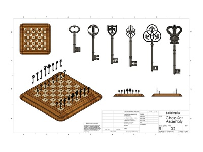 Solidworks Chess Set design mixed media chess keys product design