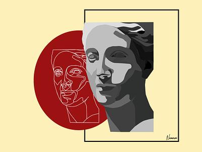 Diana lineart flat  design artwork art illustration