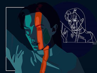 In the dark illustrator drawing line art flat design art artwork illustration