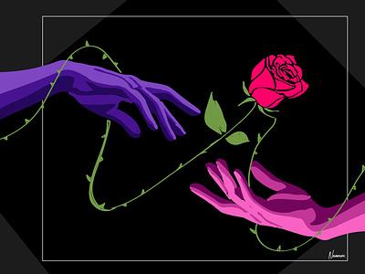 flower in your hand design line art drawing illustrator art artwork illustration flat design