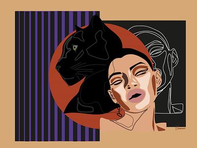 cheetah girl flat  design lineart design drawing line art flat design art illustrator illustration artwork