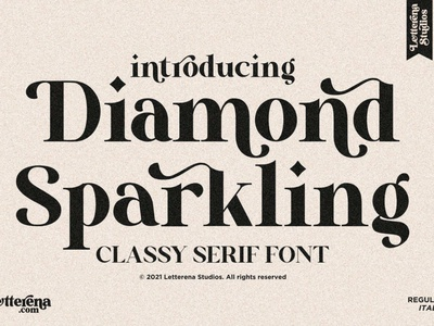 Diamond Sparkling Display Font display font stylish magazine fashion display advertising branding logo lettering typography typeface minimalist unique serif sans serif elegant modern classy fonts font