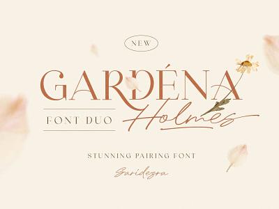 Gardena Holmes - Font Duo sans serif fonts logo display handwriting authentic script signature feminine women branding fashion fashionable classy font duo duos magazine light modern serif